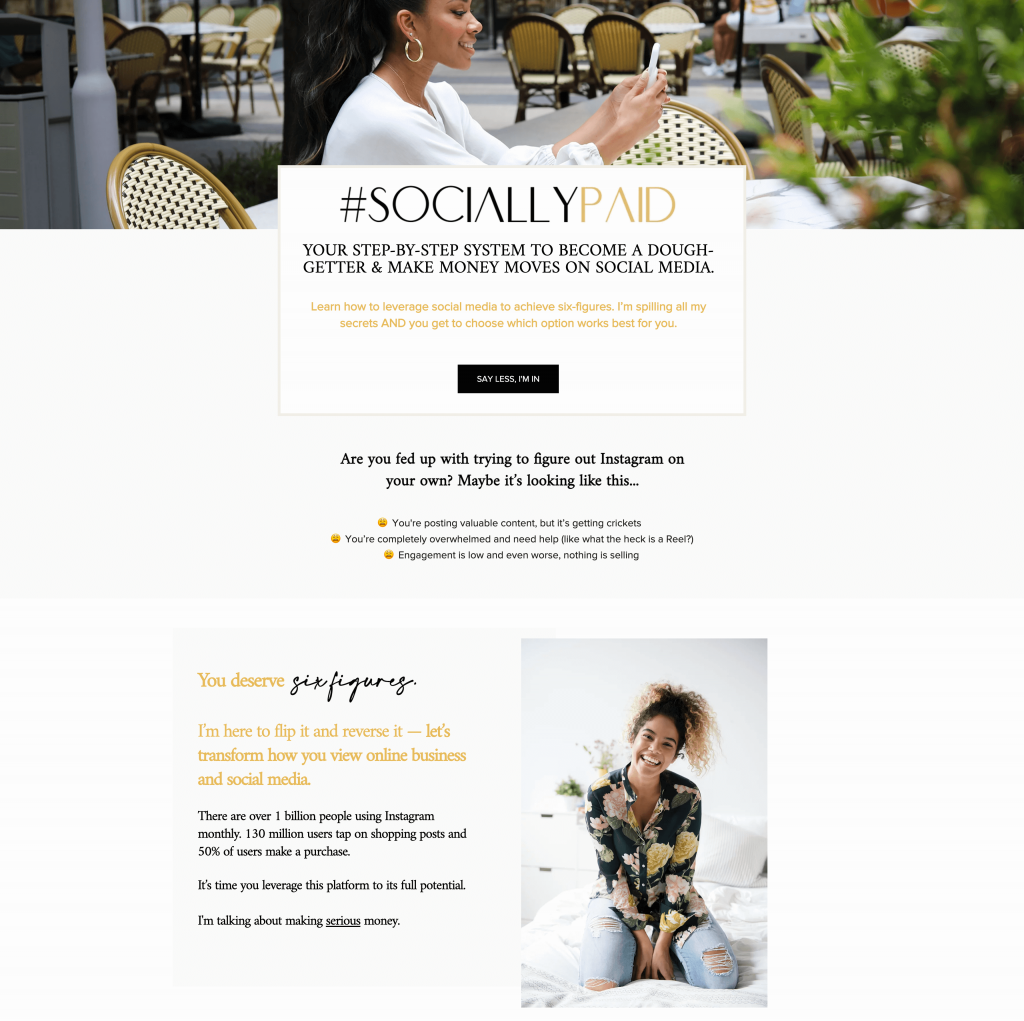 Ariel Carr - SociallyPaid Sales Page - Hero