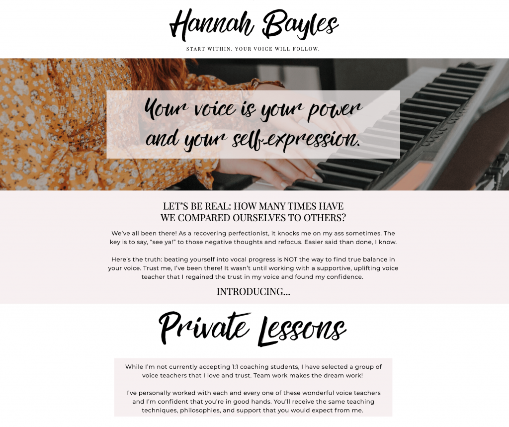 Hannah Bayles - Private Lessons Page - Excerpt