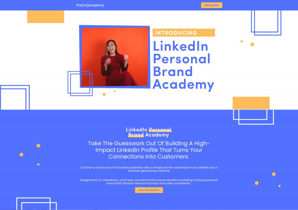 the[in]academy - LinkedIn Personal Branding Academy Sales Page - Hero Excerpt